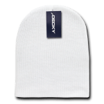 Custom Short Beanies (no cuff) (Embroidered with Logo) - White - Decky KCS