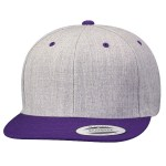 Custom Yupoong Classic Snapback 2-Tone Flat Bill Hat (Embroidered with Logo) - Heather/Purple - Yupoong 6089MT