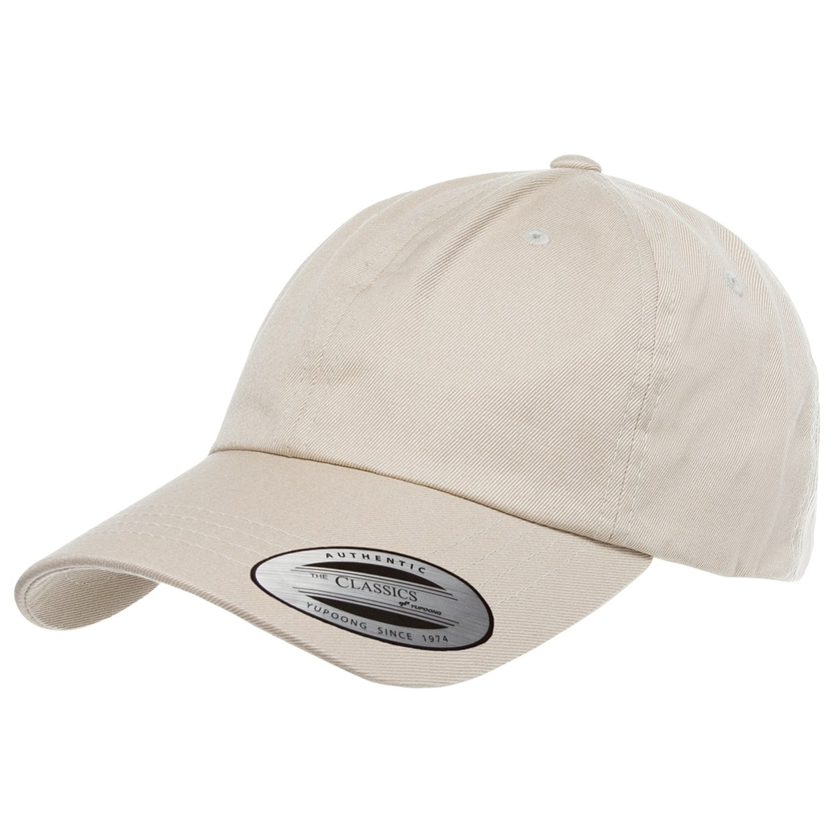 Custom Yupoong Low Profile Cotton Twill Dad Hat (Embroidered with Logo) - Stone - Yupoong 6245CM