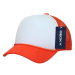 Custom Youth Trucker Mesh Baseball Hat (Embroidered with Logo) - Orange/White - Decky 7010