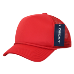 Custom Youth Trucker Mesh Baseball Hat (Embroidered with Logo) - Red - Decky 7010