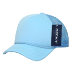 Custom Youth Trucker Mesh Baseball Hat (Embroidered with Logo) - Sky - Decky 7010