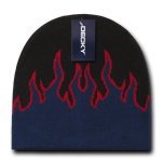 Custom Kids' Fire Knit Beanies (Embroidered with Logo) - Black/Navy/Red - Decky 9055