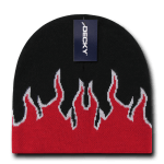 Custom Kids' Fire Knit Beanies (Embroidered with Logo) - Black/Red/White - Decky 9055