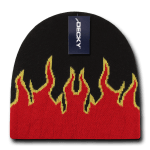 Custom Kids' Fire Knit Beanies (Embroidered with Logo) - Black/Red/Yellow - Decky 9055