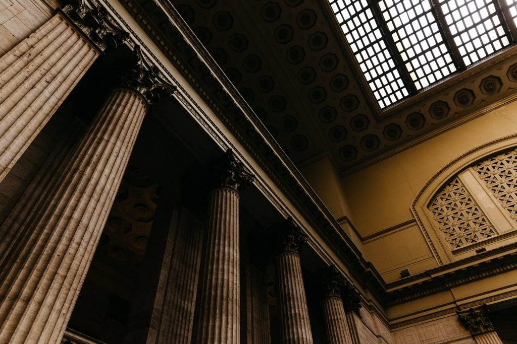 Architectual columns in a courthouse