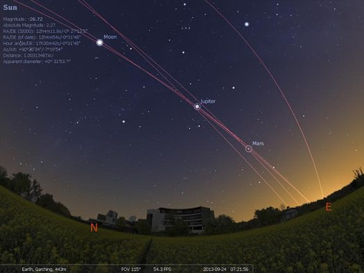 Stellarium Screenshot showing Planet orbit trails in the sky