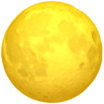 The Full Moon emoji as seen on Mac Computers - 3d, yellow, cratered, and glowing