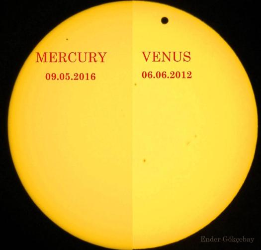 A comparison of the sizes of the planets Venus versus Mercury as they transit the Sun. Venus is a lot bigger, plus it is a lot closer to the Earth.