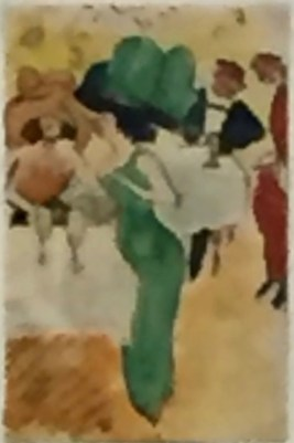Max Pechstein, Im Cafè, 1910, Aquarell und Tusche, Brücke-Museum Berlin ©starkandart.com