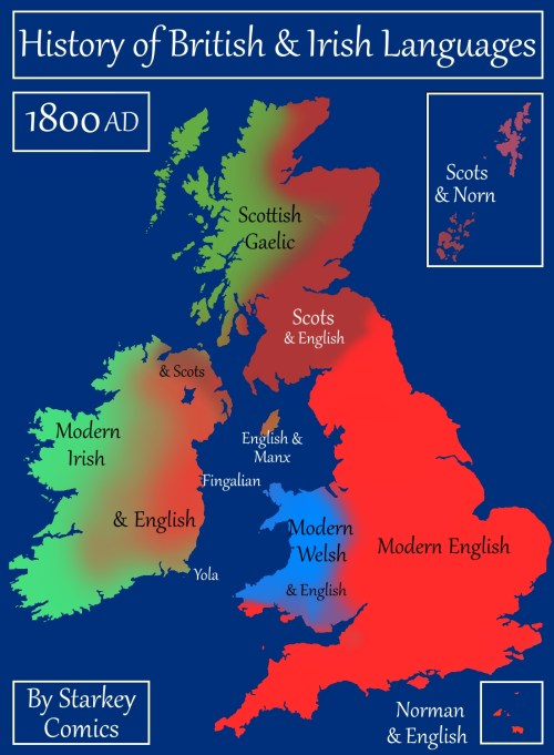 Map Of England 400 Ad.A Brief History Of British And Irish Languages Starkey Comics