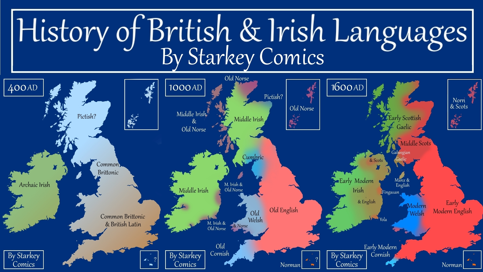 Map Of England 700ad.A Brief History Of British And Irish Languages Starkey Comics