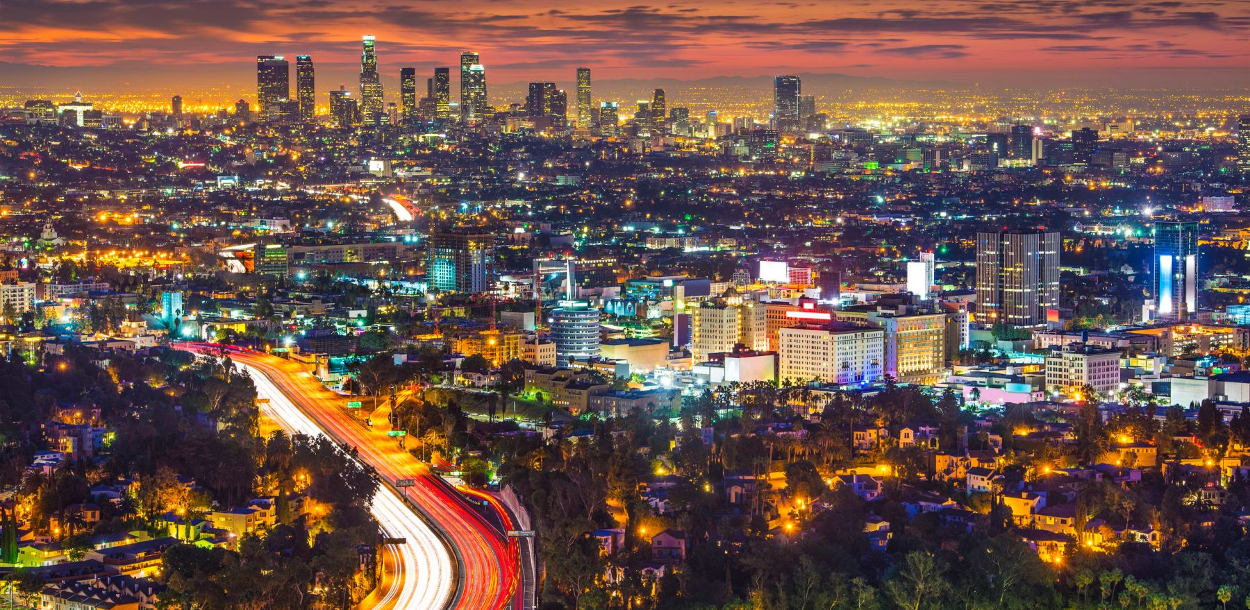 Los Angeles, California in the monring from Mulholland Drive.