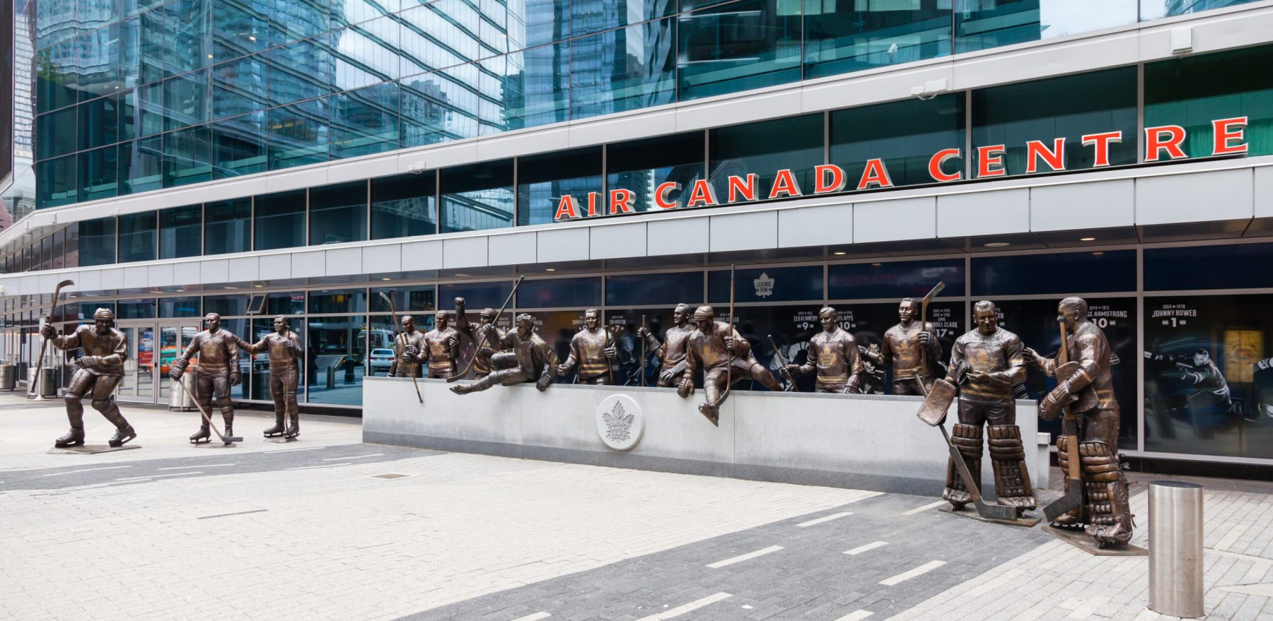 Statues of Toronto Maple Leafs ice hockey players pictured outside the Air Canada Centre.  The centre has since been renamed the Scotiabank Arena.