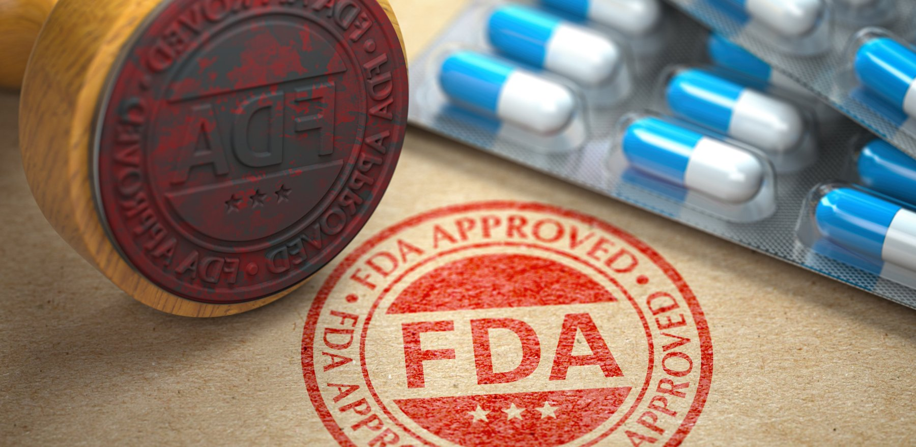 FDA approved  concept. Rubber stamp with FDA and pills on craft paper. 3d illustration