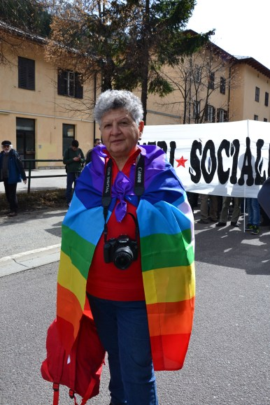 A woman with the peace flag