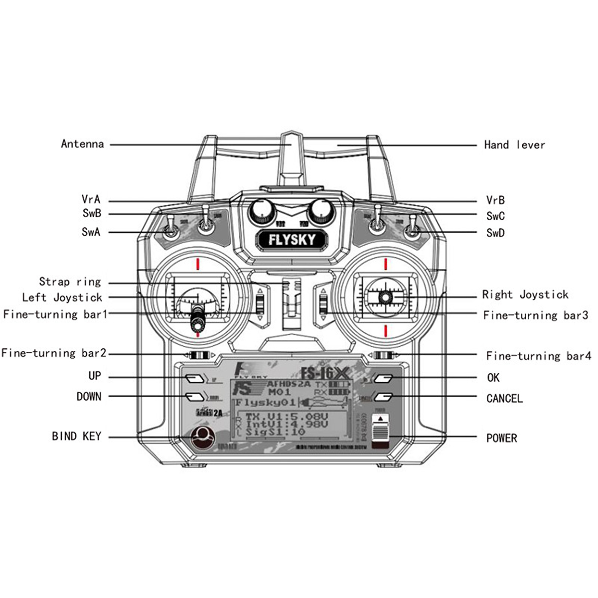 Afhds 2a 2 4 Ghz Transmitter Receiver Radio Controller For