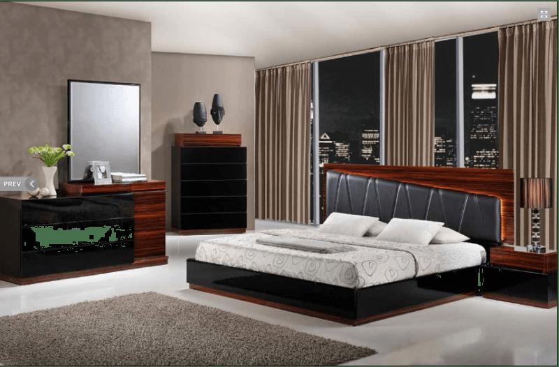 Laura Modern Black Wenge Lacquered Bedroom Set With Black