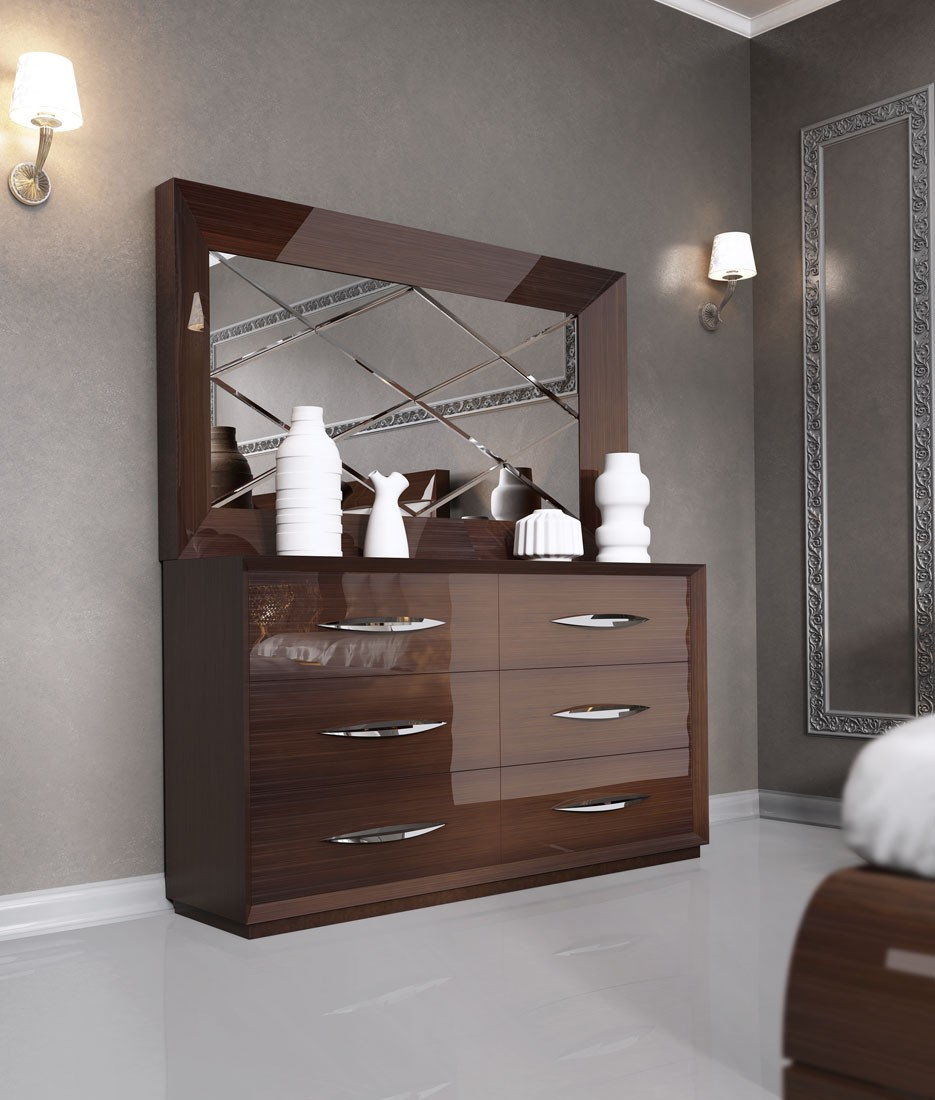 Carmen Walnut Modern Italian Bedroom Set N Star Modern Furniture