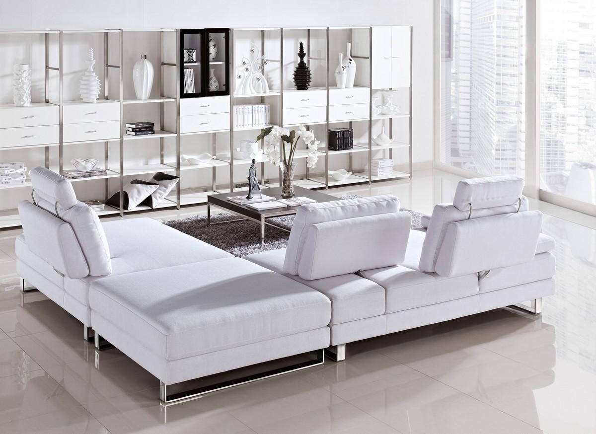 Vega Modern Fabric Sectional Sofa Set With Pull Back