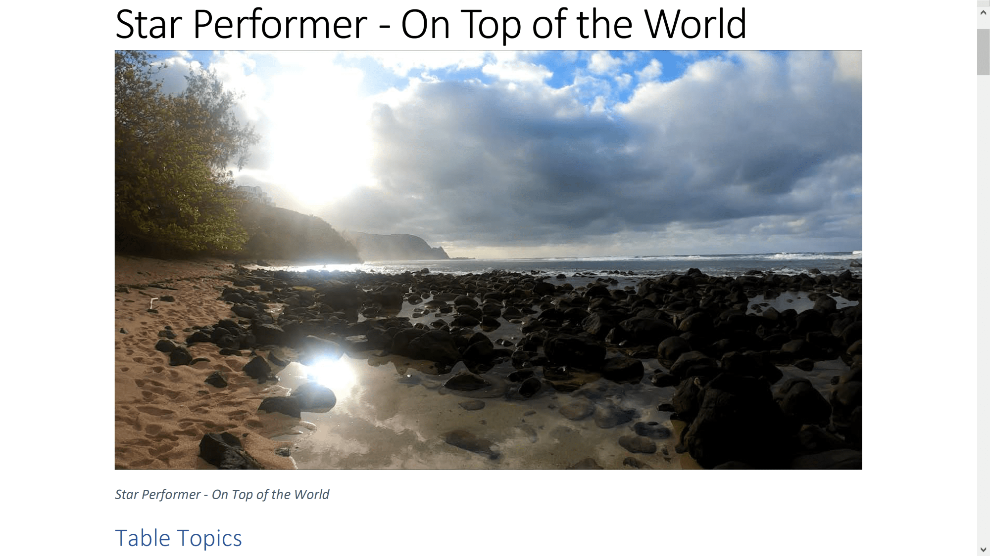 Star Performer - On Top of the World Table Topics. Copyright 2018 by Steve J Davis. All Rights Reserved. https://starperformer.info