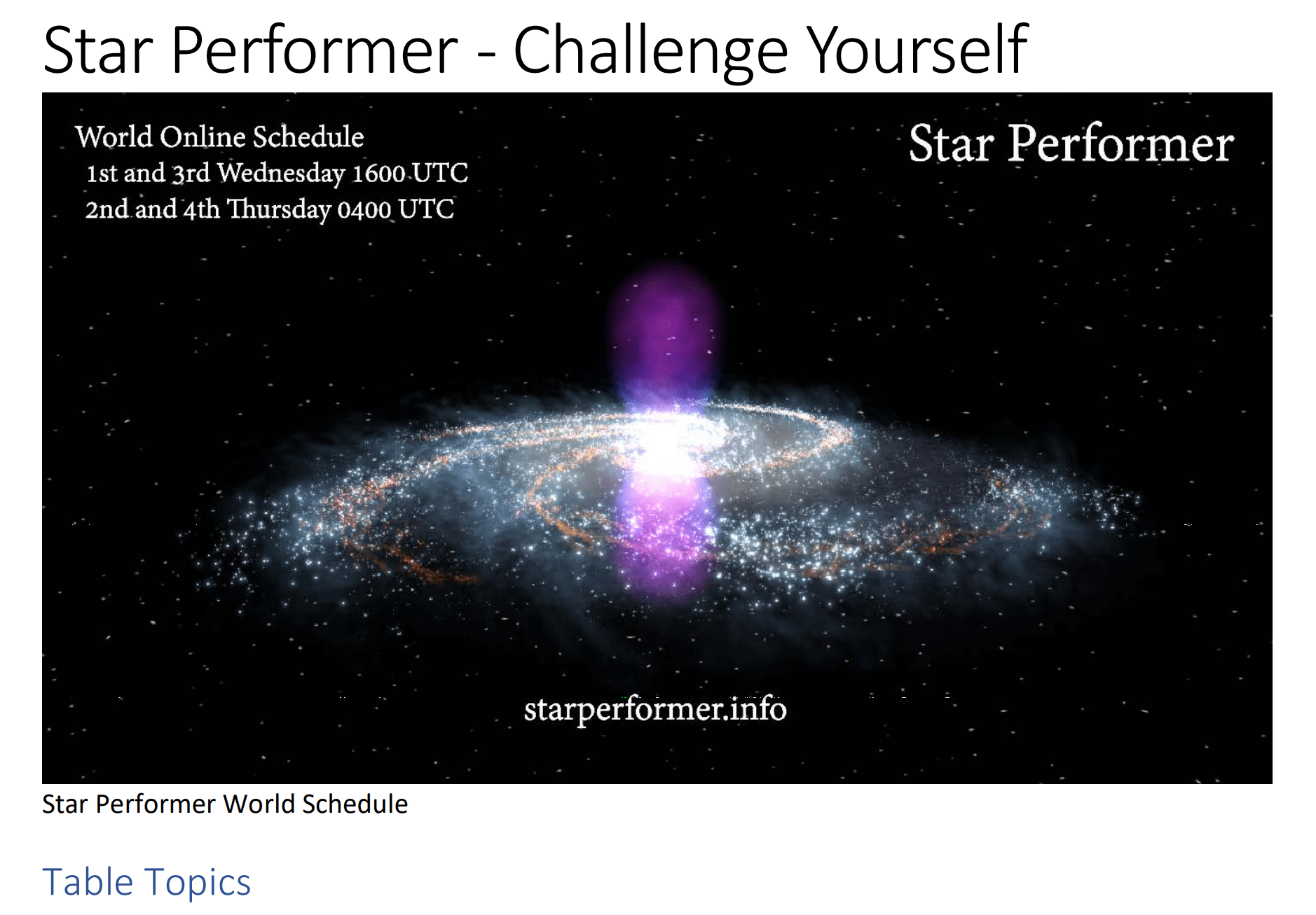 Star Performer Challege Yourself Table Topics. Copyright 2018 by Steve J Davis. All Rights Reserved. https://starperformer.info