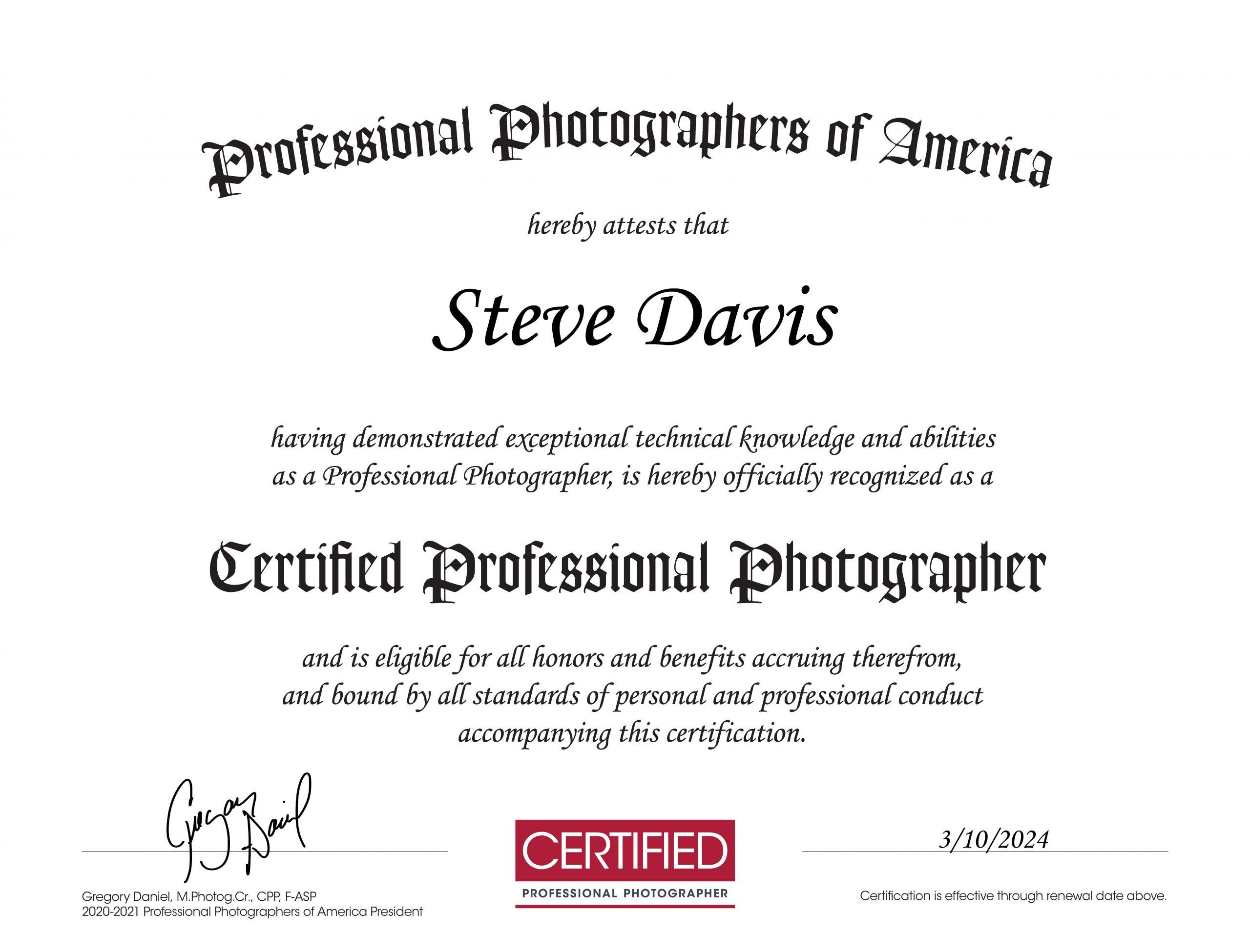 Steve J Davis cpp_certificate