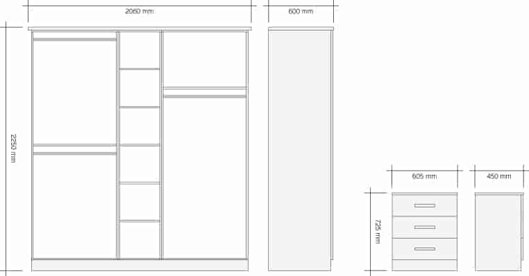 2 Metre Allure Bedroom Package Dimensions