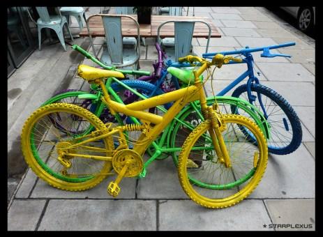 colourful bikes at a restaurant