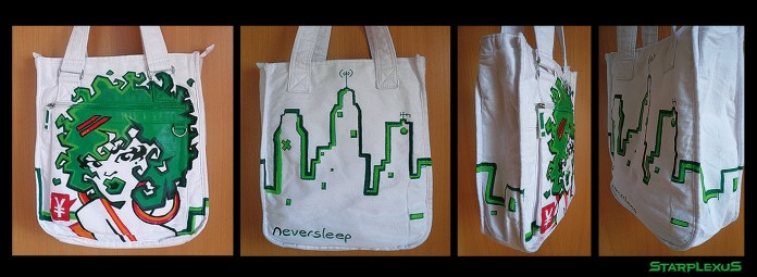 cotton bag 360 design. i almost never use green, so i gave it a shot.