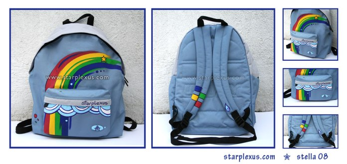 commissioned backpack with a rainbow theme