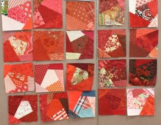 Red Crazy Quilt blocks