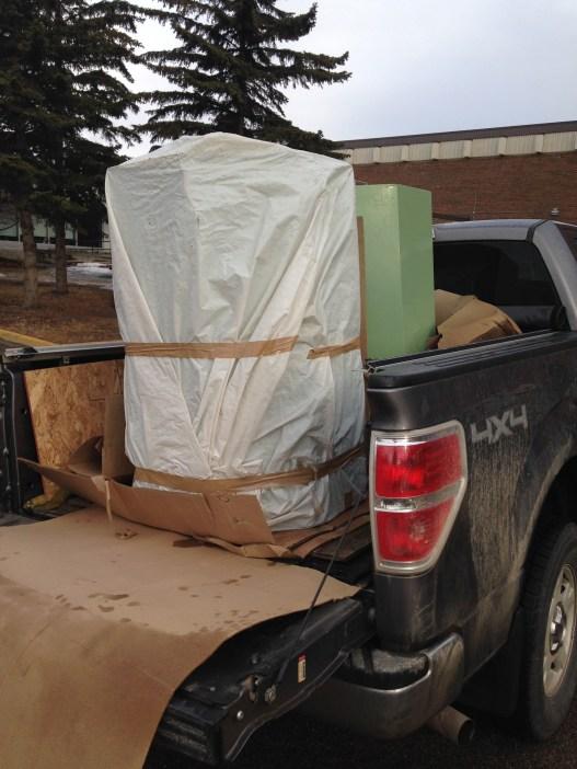 Joracan composters arriving at Red Deer College via truck