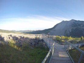 At Frank Slide, the site of a terrible rock slide in 1903 that burried a small mining town