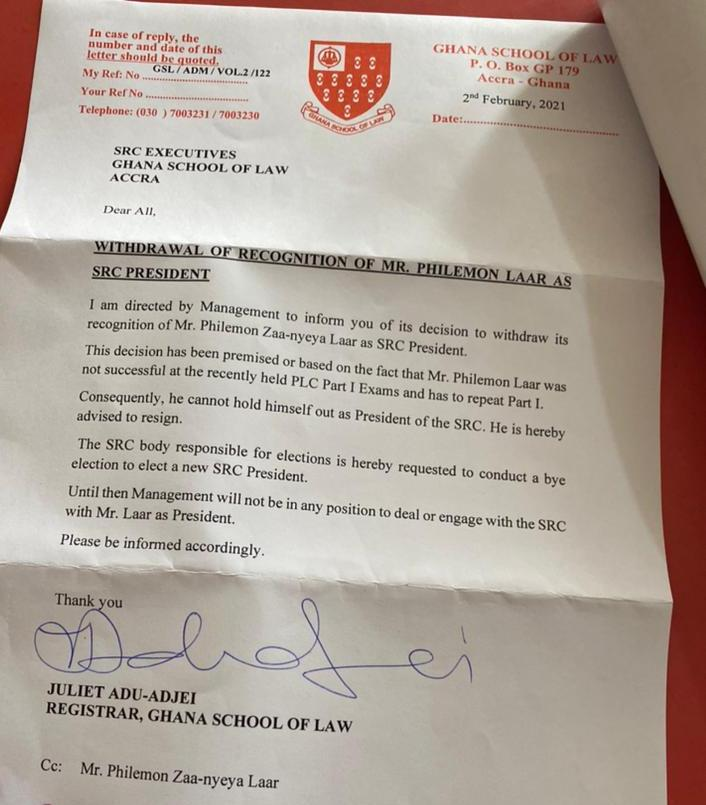 Ghana School of Law SRC president forced to resign over exams failure 1