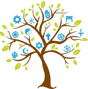 Cartoon tree with symbols of many faiths