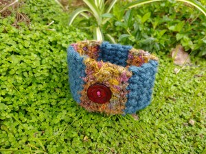 Blue and gold crocheted cuff bracelet
