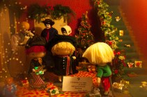 a small christmas scene with cute dolls