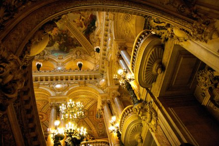 inside the Opera Garnier. From the dazzling lights to the ornate carving, everything is covered in decoration!