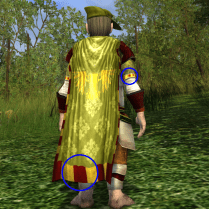 The red-and-gold checker on the hem of the cloak refers to the pattern on the sleeve.