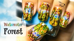 Watercolor Forest Nail Art Tutorial