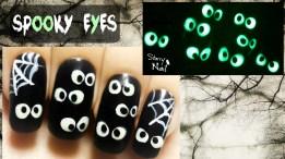Easy Halloween Spooky Eyes ⎮Glow in the Dark Freehand Nail Art Tutorial