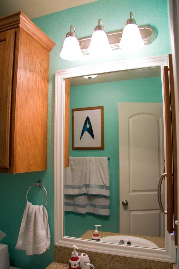 Seafoam guest bathroom