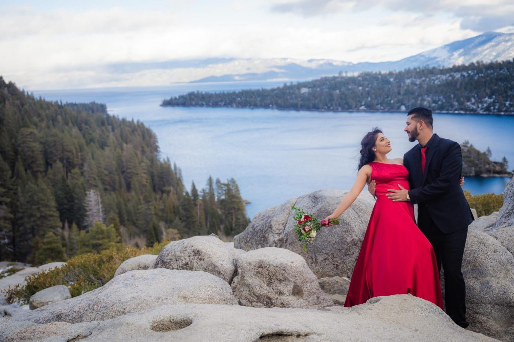 Engagement photos overlooking Emerald Bay in South Lake Tahoe
