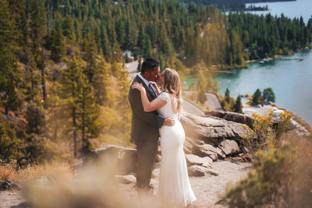 First look on top of Cave Rock for a Lake Tahoe Resort Hotel wedding