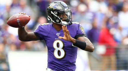 BALTIMORE, MD - OCTOBER 13: Lamar Jackson #8 celebrates his touchdown against the Cincinnati Bengals with Orlando Brown #78 of the Baltimore Ravens during the first half at M&T Bank Stadium on October 13, 2019 in Baltimore, Maryland. (Photo by Dan Kubus/Getty Images)
