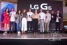"""LG G6 is now in the Philippines. Present at the launch at SM Mega Fashion Hall were (L-R): Program host and radio DJ Karla Aguas, basketball star LA Tenorio, actress and VJ Sharlene San Pedro, social media influencer Janeena Chan, TV personality Luis Hontiveros, LG Mobile Philippines Product Manager Faith Mijares, LG Mobile Philippines Senior Sales Head Aldo San Pedro, actor and singer Khalil Ramos, Spot.ph Associate Publisher Owen Maddela and """"I'm Drunk, I Love You"""" movie director JP Habac."""
