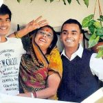 Shivraj Singh Chouhan's wife (centre), son Kartikey (right), and Kunal (left)