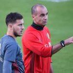 Eden Hazard with his coach Roberto Martínez
