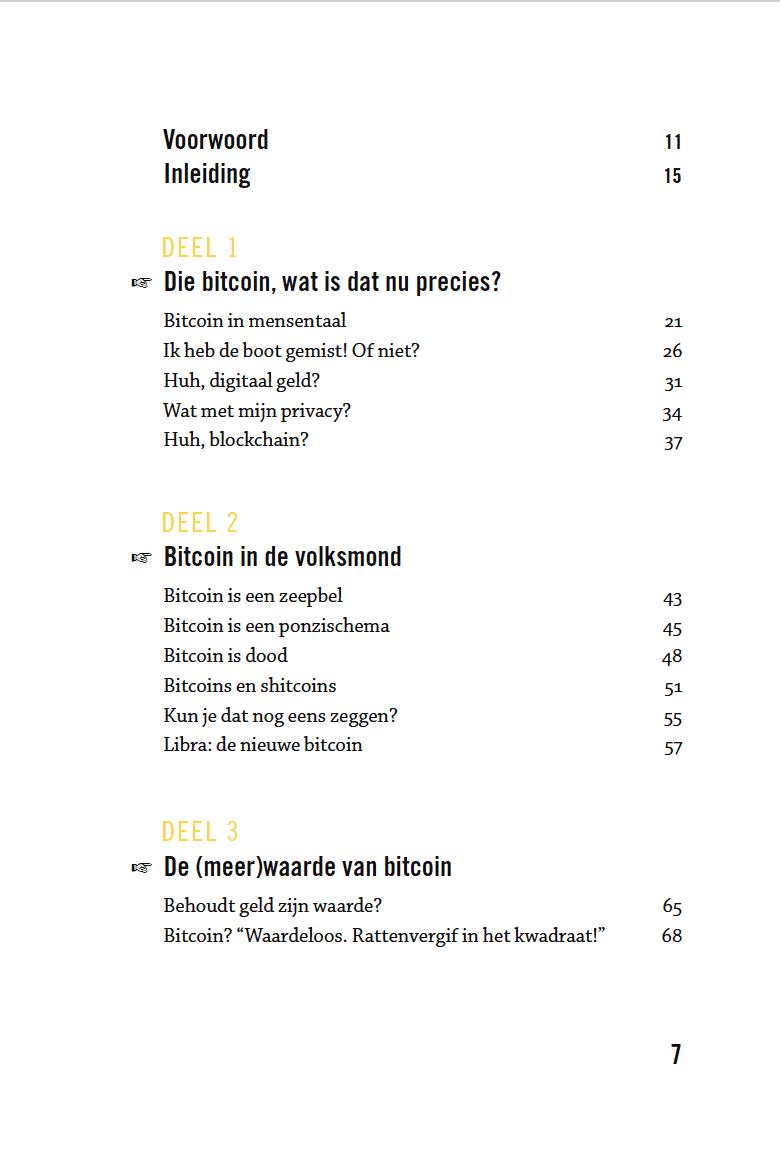 Bitcoin voor beginners boek - inhoudstafel 2